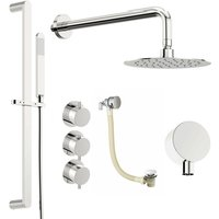 Hardy thermostatic shower valve with complete wall shower bath set 250mm - Mode