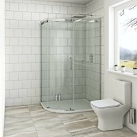 Harrison 8mm left handed offset quadrant shower enclosure with stone tray 1000 x 800 - Mode