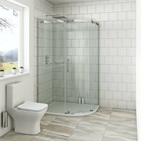 Harrison 8mm right handed offset quadrant shower enclosure with stone tray 1200 x 900 - Mode