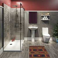 Harrison complete bathroom suite with enclosure, tray, shower and taps 1700 x 900 - Mode