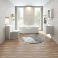 Harrison furniture suite with freestanding bath 1565 x 740 and mirror - Mode
