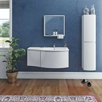 Harrison white furniture package with right handed wall hung vanity unit 1000mm - Mode