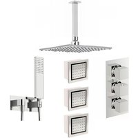Spa complete square thermostatic triple shower valve with diverter and ceiling shower set - Mode