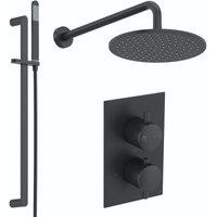 Spencer round black twin diverter valve shower set - Mode