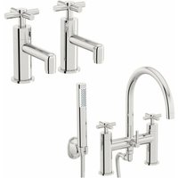 Tate basin tap and bath shower mixer tap pack - Mode