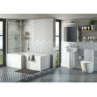 Tate bathroom suite with left handed L shaped shower bath 1700 x 850 - Mode