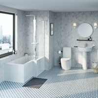 Mode Tate bathroom suite with right hand bath, shower and taps