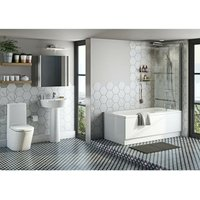 Mode Tate bathroom suite with straight bath, shower and taps 1600 x 700