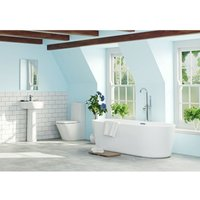 Mode Tate complete bathroom suite with large freestanding bath 1780 x 800 and taps