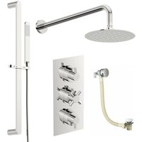 Tate thermostatic mixer shower with wall shower, slider rail and bath filler 300mm shower head - Mode