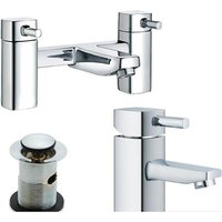 Modern 1/4 Turn Bath and Basin Mixer Taps and Waste Chrome Bathroom Tap Set (ICE 51)
