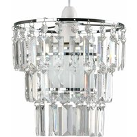 3 Tier Ceiling Pendant Light Shade with Acrylic Jewel Drople