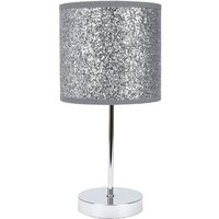 Modern and Novelty Silver Glitter Table Lamp with Chrome Metal Base and Switch by Happy Homewares