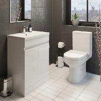 Affine - Modern Bathroom Cloakroom Suite Close Coupled Toilet 600mm Vanity Unit Sink