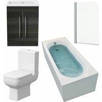 Modern Bathroom Suite 1500mm Curved Bath Toilet Basin Sink Vanity Charcoal Unit - AFFINE