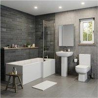 Modern Bathroom Suite 1500mm L Shaped Bath RH Screen Toilet Basin and Pedestal