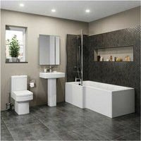 Affine - Modern Bathroom Suite 1500mm LH L Shaped Bath Screen Toilet Basin and Pedestal