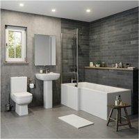 Modern Bathroom Suite 1600mm L Shaped Bath LH Screen Toilet Basin and Pedestal