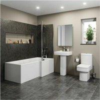 Affine - Modern Bathroom Suite 1600mm RH L Shaped Bath Screen Toilet Basin and Pedestal