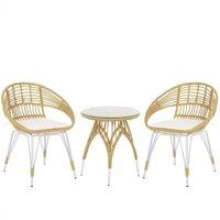 Beliani - Modern Bistro Set PE Rattan White Metal Legs 2 Chairs Coffee Table Natural Pellaro
