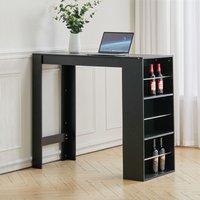 Livingandhome - Modern Breakfast Bar Table Pub Kitchen Dining Room Furniture W/ Storage Rack, Black