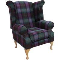 Designer Sofas 4 U - Modern Chesterfield Edward Wool Tweed Wing chair Topaz | DesignerSofas4U