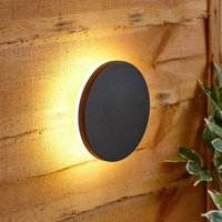 Modern Circle Black Outdoor Wall Light Up Down Integrated LED IP54 Garden Patio - BIARD