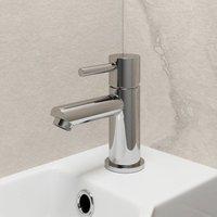 Modern Cloakroom Mini Mono Basin Sink Mixer Tap Brass Single Lever Round Chrome - ARCHITECKT