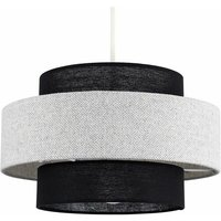 Ceiling Pendant Light Shade Black and Grey Herringbone - No