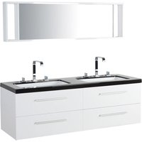 Beliani - Modern Bathroom Vanity Set White Double Sink Mirror Cabinet Malaga