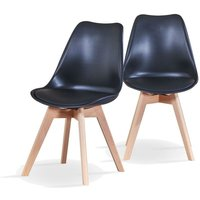Modern Dining Chairs with Padded Seat x 2 - Black