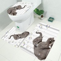 Augienb - Modern Elephant Bathroom Shower Curtain and Toilet Cover 3PCS