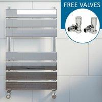 Modern Flat Panel Heated Towel Rail Radiator Chrome 650 x 400mm Angled Valves - DURATHERM