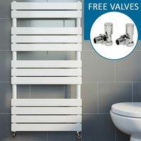 Duratherm - Modern Flat Panel Heated Towel Rail Radiator White 1200 x 600mm Straight Valves