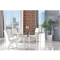 Verona Extending Steel Clear Glass Dining Table and 4 Faux L