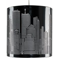 Black New York City Skyline Ceiling Pendant Light Lampshade