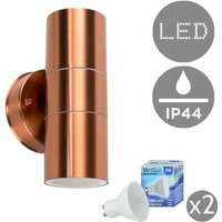 IP44 Rated Stainless Steel Outdoor Up/Down Garage Patio Driveway Security Wall Mounted Exterior Light + LED GU10 Bulbs - Copper - MINISUN