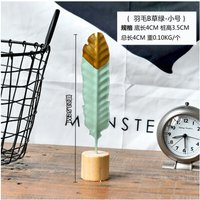 Modern Iron Feather Wooden Base Decorations Simple Miniature Figurines for Living Room Table Office Home Decoration Accessories Green round head