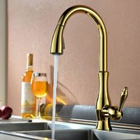 Modern kitchen mixer with hand shower and extractable golden hose - LOOKSHOP