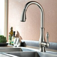 Modern kitchen mixer with hand shower and pull-out hose Brushed nickel - LOOKSHOP