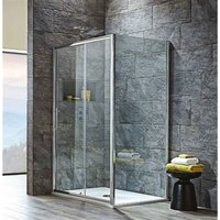 1100 x 760mm 8mm Slider Shower Enclosure with Tray and Waste - Modern Living
