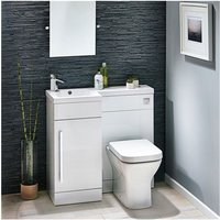 Lili 900 Complete Space saving L shaped bathroom suite - LH - White Gloss - Modern Living