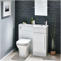 Modern Living - Lili 900 Complete Space saving L shaped bathroom suite - RH - White Gloss
