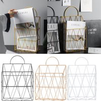 White Magazine Newspaper Rack Wall Mounted Post Storage Basket Home Table Stand - LIVINGANDHOME