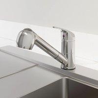 Modern Mono Kitchen Mixer Tap Pull Out Handheld Spray Round Single Lever Chrome