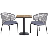 Beliani - Modern Outdoor Garden Bistro Set Grey Chairs Plastic Wood Square Tabletop PALMI