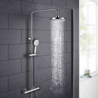Modern Round Thermostatic Wall Mounted Dual Control Riser Shower Mixer - NESHOME