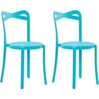Modern Set of 2 Garden Dining Chairs Lightweight Plastic Blue Resistant Camogli