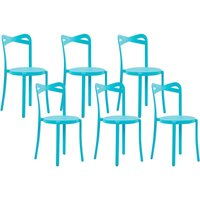 Beliani - Modern Set of 6 Garden Dining Chairs Lightweight Plastic Blue Resistant Camogli