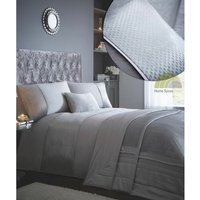 Modern Silver King Duvet Quilt Cover and Pillowcase Bed Bedding Set With Metallic Sparkle Panel - BEDMAKER